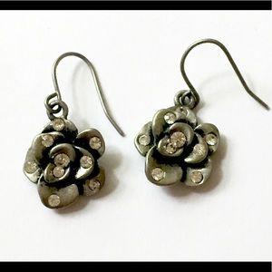 Silver flower rhinestone earrings